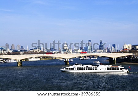 Waterloo bridge in London England with skyline - stock photo