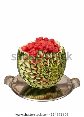 Watermelon carving isolated on white background - stock photo