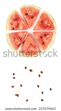 Watermelon circle cut in six pieces next to its own seeds and juice drops leftovers, both compositions isolated over the white background - stock photo