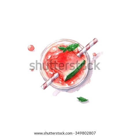 Watermelon Cocktail - Watercolor Food Collection - stock photo