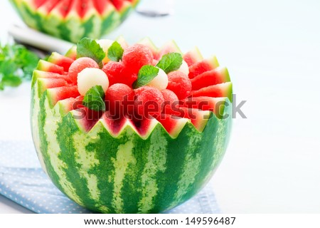 Watermelon. Fruit Salad. Fresh and Ripe Watermelon and Melon Balls with Mint - stock photo