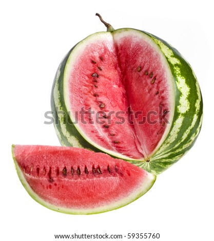watermelon, isolated on white - stock photo