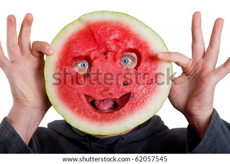 Watermelon mask and human eyes for Halloween isolated on white - stock photo