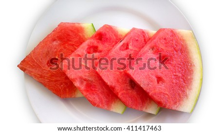 Watermelon on a plate and white background. - stock photo