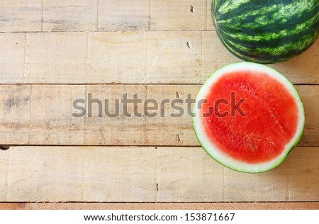 watermelon on wooden table  - stock photo
