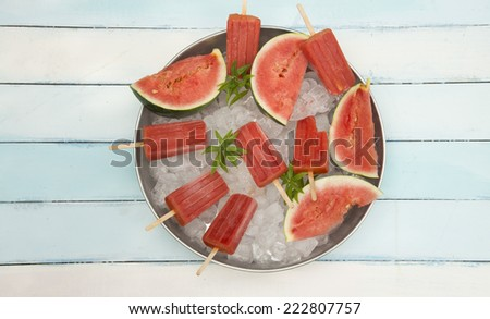 watermelon popsicles - stock photo