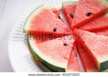 Watermelon. Slices of fresh watermelon on white background - stock photo