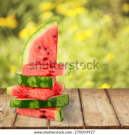 Watermelon. Stack of seedless watermelon slices - stock photo