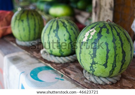 Watermelons at a roadside stand in Okinawa, Japan. - stock photo