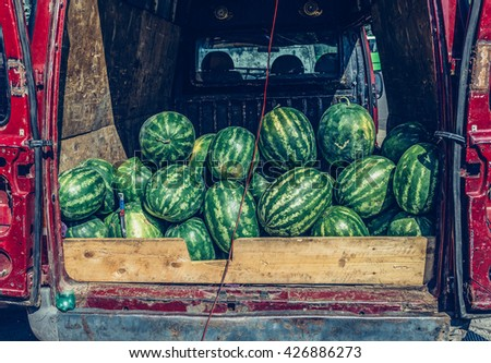 watermelons on a market in Borjomi, south-central part of Georgia - stock photo