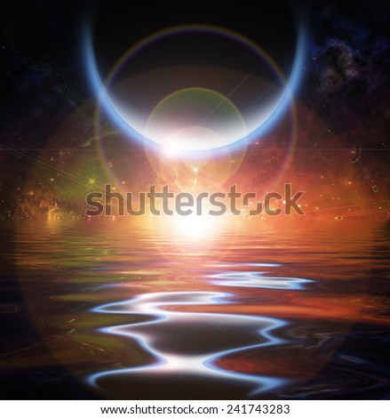 Waters reflection and Planets - stock photo