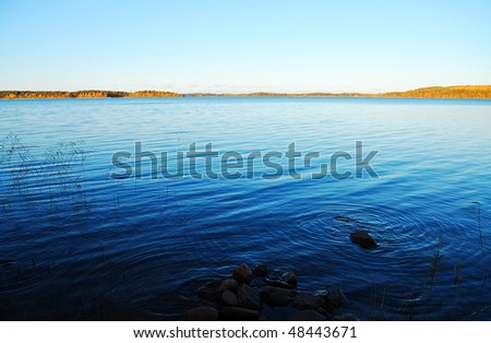 Waterscape with thin forest skyline - stock photo