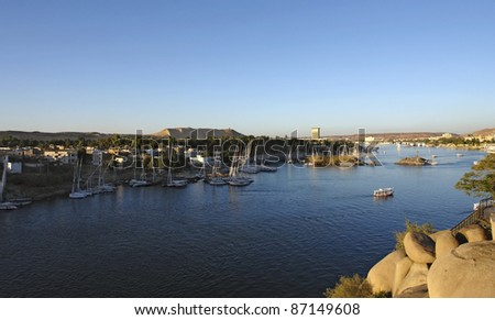 waterside scenery including River Nile in Egypt (Africa) at evening time - stock photo