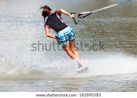 Waterskiier in action - stock photo