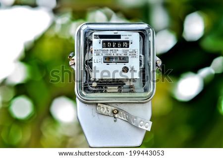 Watt hour Electric meter - stock photo