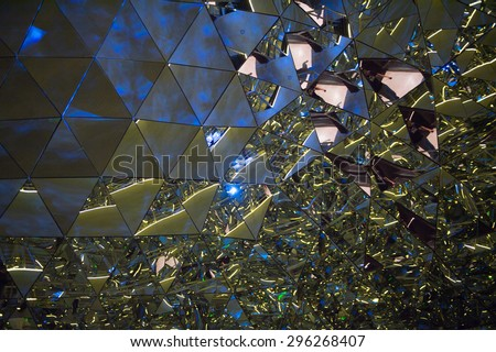 WATTENS, AUSTRIA - JULY 4, 2015: Crystals of the Swarovski Crystal Worlds (Kristallwelten) museum. Swarovski is an Austrian producer of luxury cut lead glass found in 1895 - stock photo