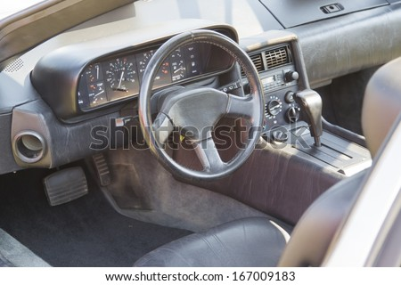 WAUPACA, WI - AUGUST 24:  Interior of 1981 DeLorean Car at Waupaca Rod and Classic Annual Car Show August 24, 2013 in Waupaca, Wisconsin. - stock photo
