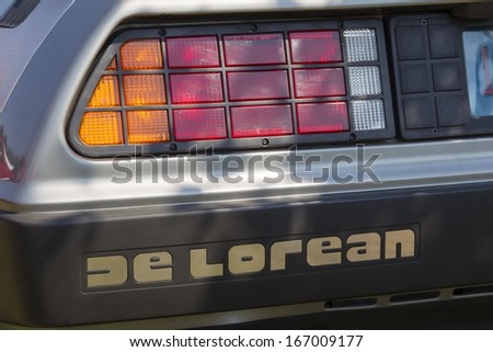 WAUPACA, WI - AUGUST 24:  Rear lights of 1981 DeLorean Car at Waupaca Rod and Classic Annual Car Show August 24, 2013 in Waupaca, Wisconsin. - stock photo