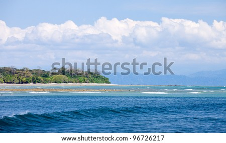 Wave Approaches Shore - Costa Rica - stock photo