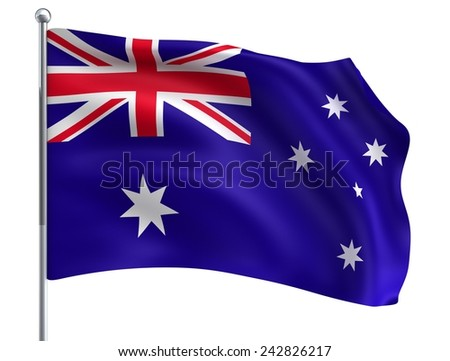 Wave Australia Flag in High Quality Isolated on White with Flagpole - stock photo