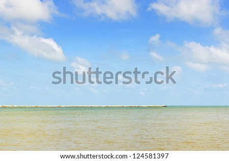 Wave Barrier for protect the beach - stock photo