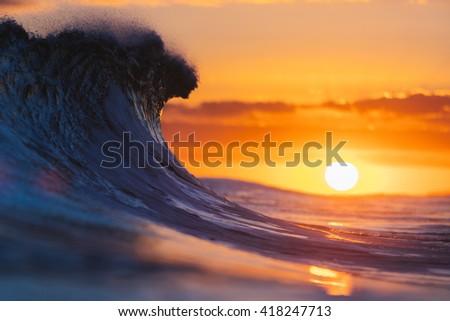 wave breaking  - stock photo