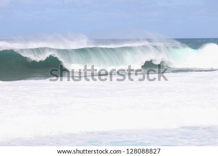 Wave breaking on pipeline sunset beach surf competition - stock photo