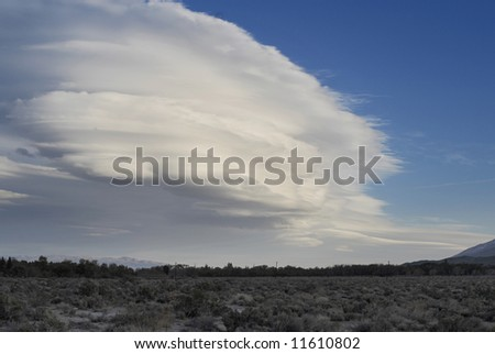 Wave cloud over Owens Valley in California - stock photo