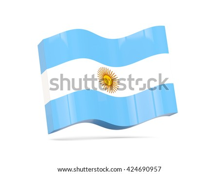 Wave icon with flag of argentina. 3D illustration - stock photo