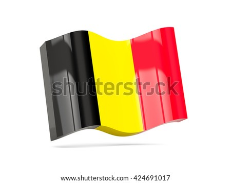 Wave icon with flag of belgium. 3D illustration - stock photo