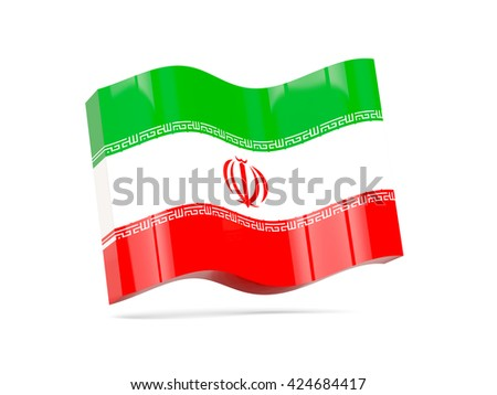 Wave icon with flag of iran. 3D illustration - stock photo
