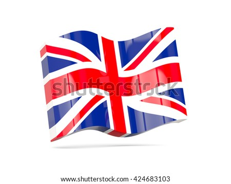 Wave icon with flag of united kingdom. 3D illustration - stock photo