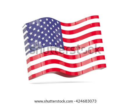 Wave icon with flag of united states of america. 3D illustration - stock photo