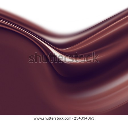 wave of liquid chocolate on white background - stock photo