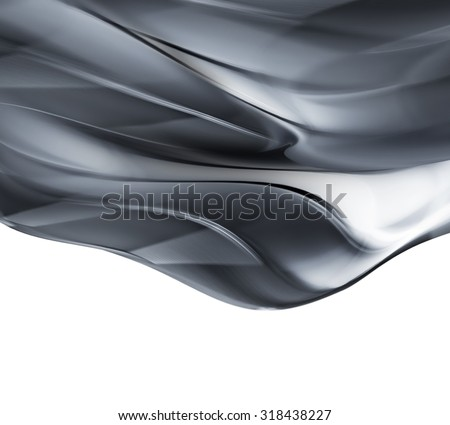 wave of liquid metal on white background - stock photo