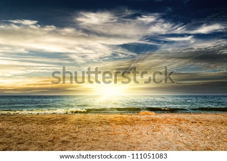 Wave on sunset. Nature composition - stock photo