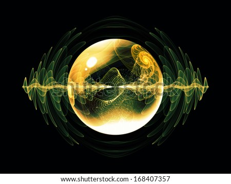 Wave Particle series. Composition of fractal spherical patterns and conceptual elements suitable as a backdrop for the projects on science, technology, spirituality and design - stock photo
