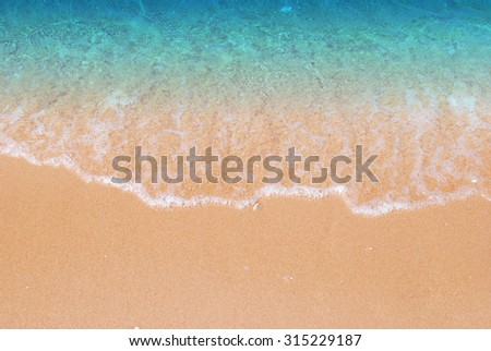 Wave & Sand beach background - stock photo