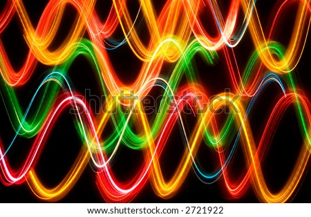 Wave shapes lights. Colorful. Isolated. Black background - stock photo