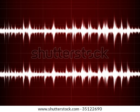 Wave Sound on the red screen - stock photo