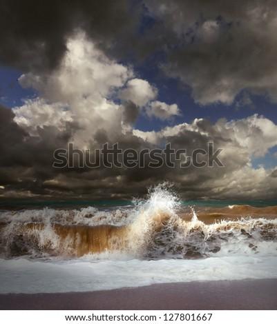 Wave splash at the stormy sea landscape - stock photo