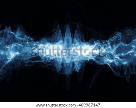 Wave Visualization series. Abstract composition of sine waves and lights suitable as element in projects related to signal and sound processing, modern technology, education and science - stock photo