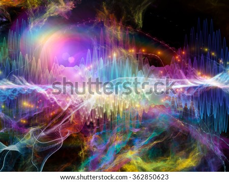 Wave Visualization series. Backdrop design of sine waves and lights for works on signal and sound processing, modern technology, education and science - stock photo