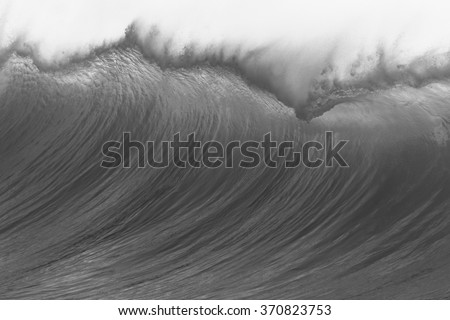 Wave Wave ocean swells large crashing water power along coastline vintage black and white - stock photo