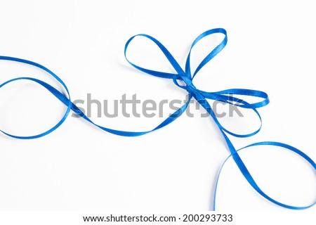 waved blue ribbon isolated on white background - stock photo