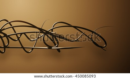 waved organic lines on gradient background, dark colour and steel style - stock photo