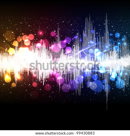 waveform music background - stock photo