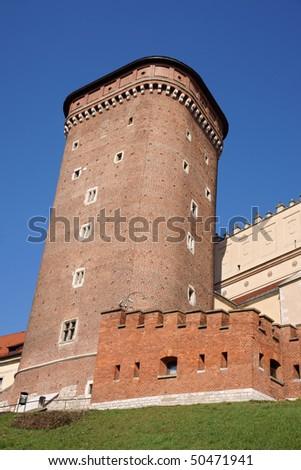 Wavel Castle in a city of Krakow, Poland - stock photo