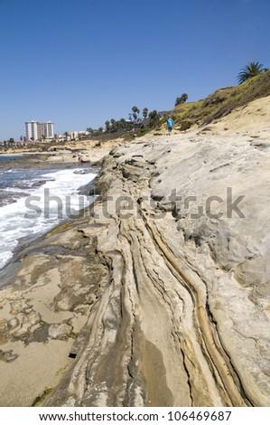 Waves crash against the shore near La Jolla, California. - stock photo