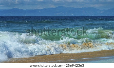 Waves Crashing on the Beach in Southern California - stock photo